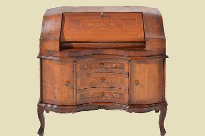 Empire Regency Barock Mahagoni Intarsien Schreibtisch Sekretär 4