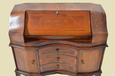 Empire Regency Barock Mahagoni Intarsien Schreibtisch Sekretär 6