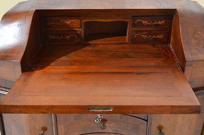 Empire Regency Barock Mahagoni Intarsien Schreibtisch Sekretär 7