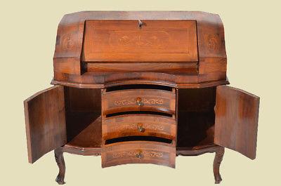 Empire Regency Barock Mahagoni Intarsien Schreibtisch Sekretär 8
