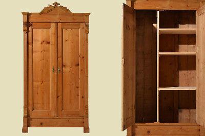 Antiker Gründerzeit Weichholz Kleiderschrank mit Einteilung von 1880 0