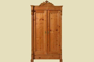 Antiker Gründerzeit Weichholz Kleiderschrank mit Einteilung von 1880 1