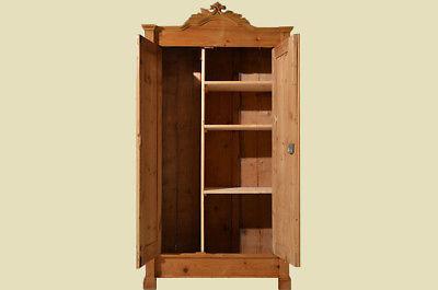Antiker Gründerzeit Weichholz Kleiderschrank mit Einteilung von 1880 4