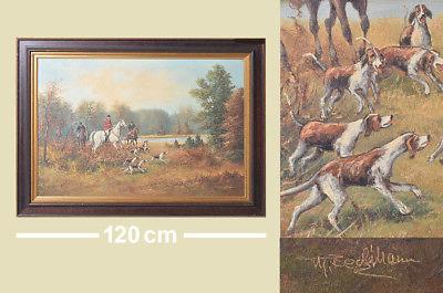 Antikes Ölbild Jagdszene mit Pferd Hunde - Beckmann