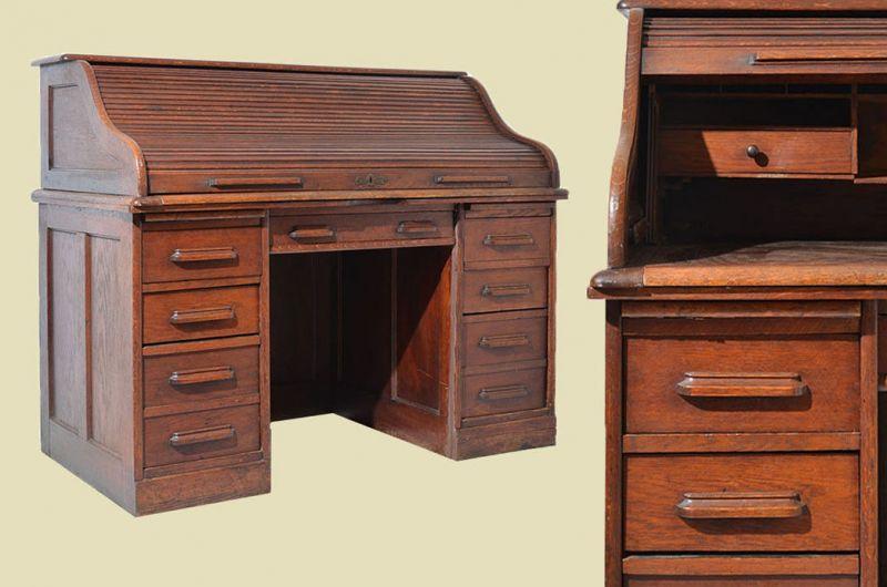 Antik Art Deco Schreibtisch Rollsekretär Rolladensekretär von 1920