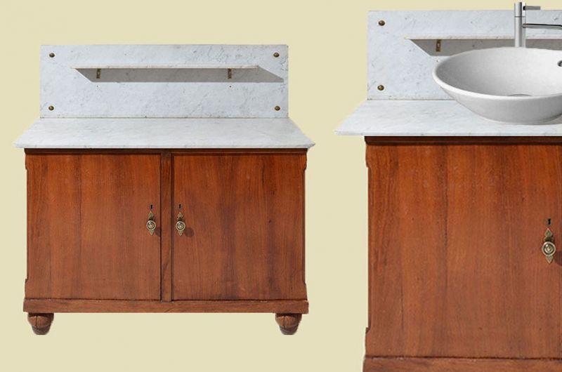 Antike Jugendstil Vollholz Waschtisch Kommode mit Marmor von 1920