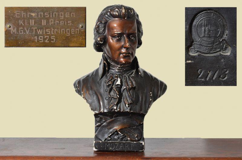Original Antike Mozart Büste von 1925