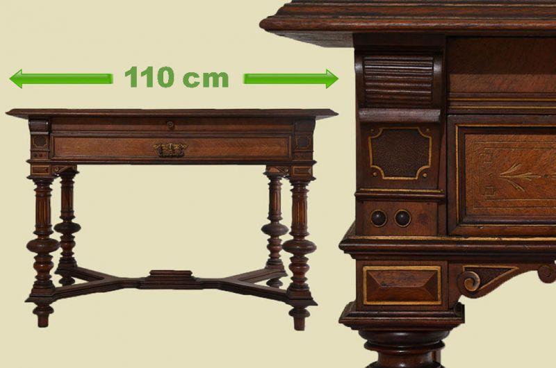 Kompakter Antiker Gründerzeit Nußbaum Sekretär Schreibtisch Tisch von 1880