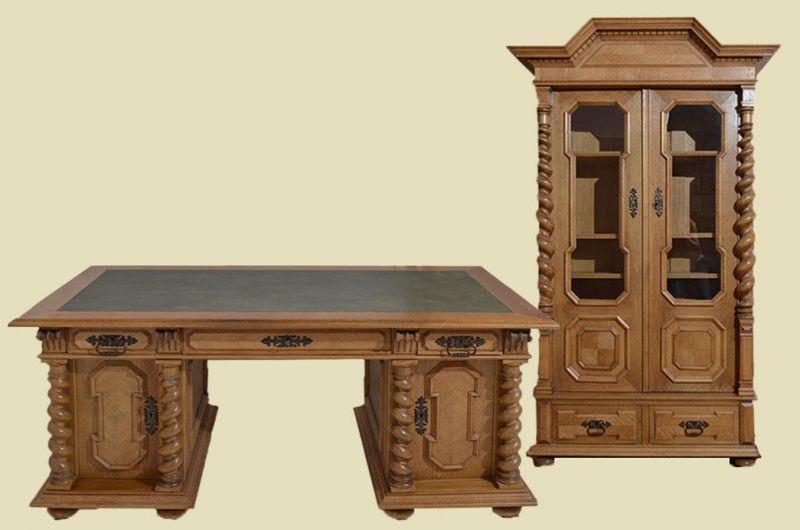 Antik Gründerzeit Danziger Barock Schreibtisch + Schrank von 1880