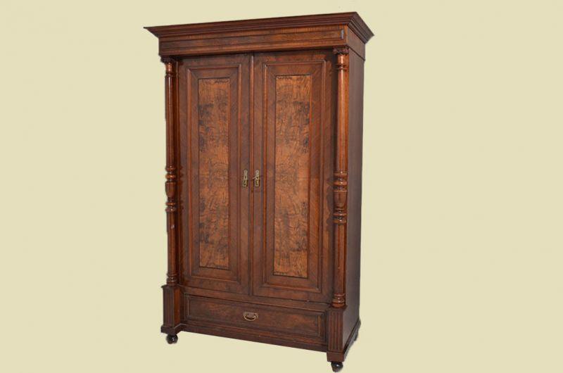 Antiker Gründerzeit Kleiderschrank Säulen & Schublade von 1880 2