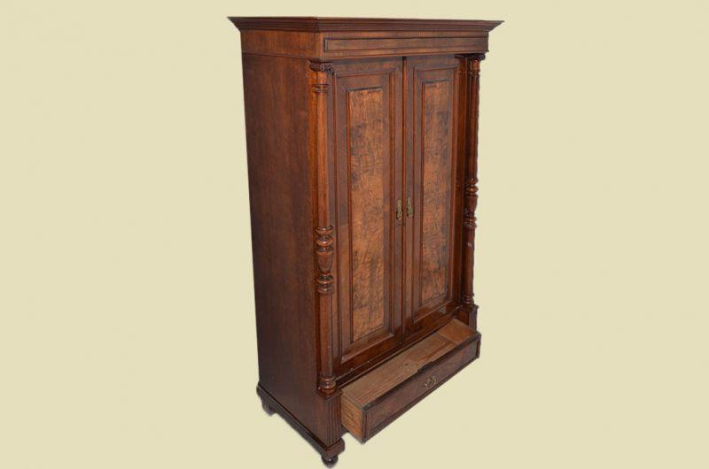Antiker Gründerzeit Kleiderschrank Säulen & Schublade von 1880 3