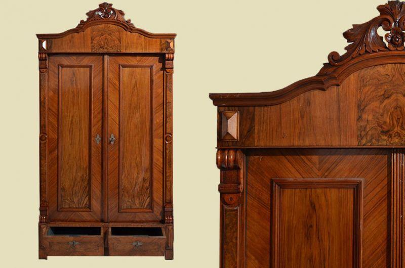 Antik Gründerzeit Kleiderschrank mit Krone & Schubladen von 1880
