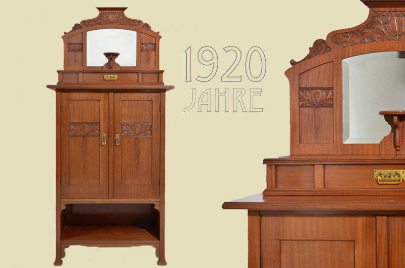 Original Antik Jugendstil Kabinett Schrank Vertiko von 1920
