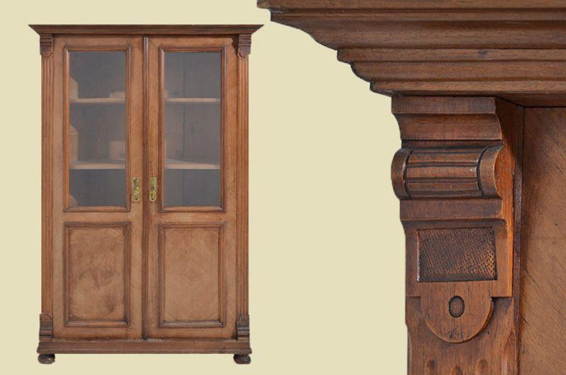 Antike Gründerzeit Nußbaum Bücherschrank Schrank Vitrine von 1880