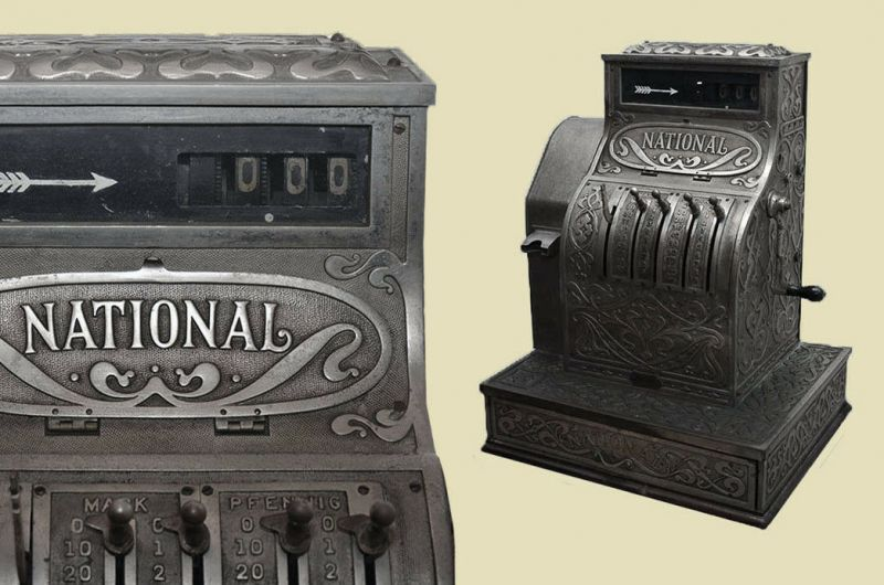 Antike Jugendstil NATIONAL Kasse Registrierkasse von 1905 - funktionstüchtig 0
