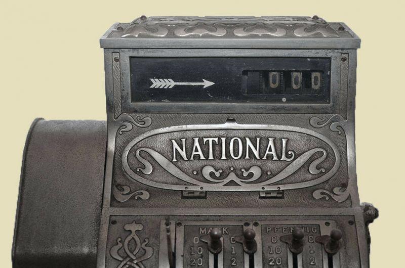Antike Jugendstil NATIONAL Kasse Registrierkasse von 1905 - funktionstüchtig 8