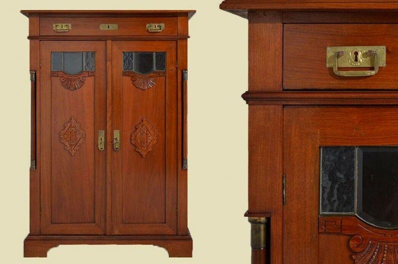 Antik Jugendstil Mahagoni Vertiko Schrank mit Fenster von 1920 0