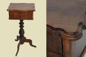 Antiker Louis Philippe Nußbaum Beistelltisch Tisch Nähtisch von 1860