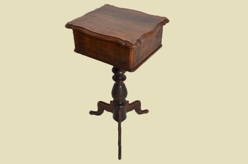 Antiker Louis Philippe Nußbaum Beistelltisch Tisch Nähtisch von 1860 10