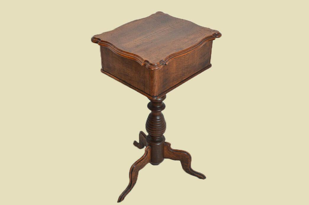 Antiker Louis Philippe Nußbaum Beistelltisch Tisch Nähtisch von 1860 11