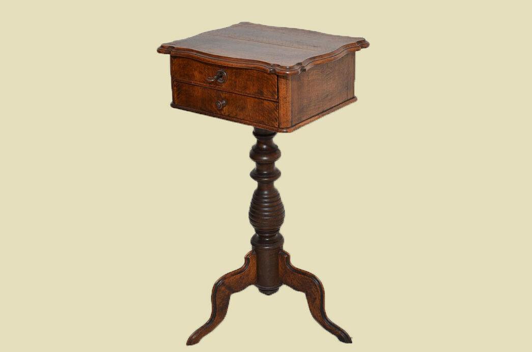 Antiker Louis Philippe Nußbaum Beistelltisch Tisch Nähtisch von 1860 2