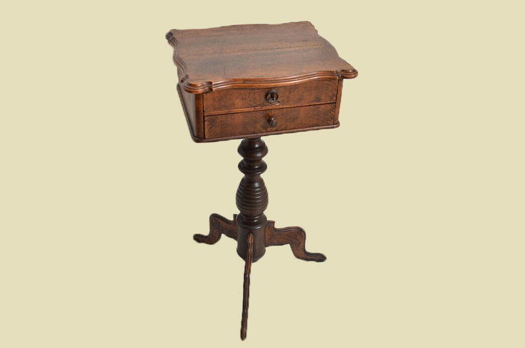 Antiker Louis Philippe Nußbaum Beistelltisch Tisch Nähtisch von 1860 3