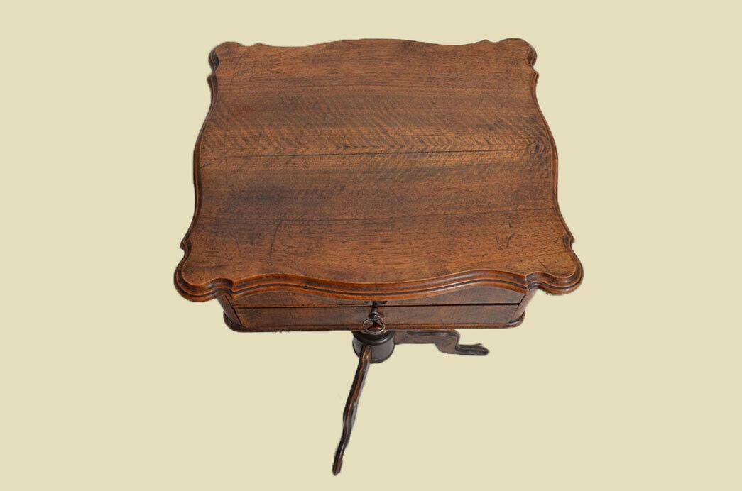 Antiker Louis Philippe Nußbaum Beistelltisch Tisch Nähtisch von 1860 4
