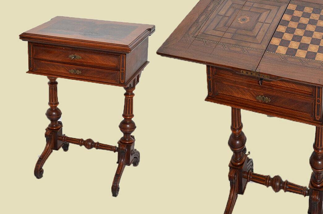 Antiker Gründerzeit Schachtisch Schachbrett Spieltisch Nähtisch von 1880 0