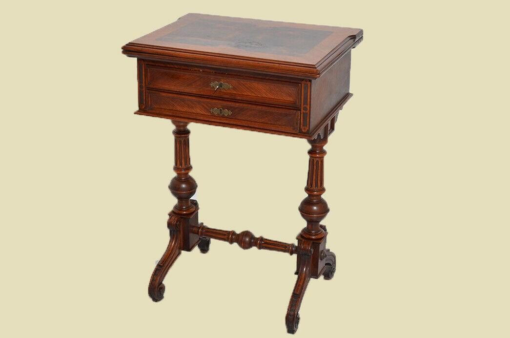 Antiker Gründerzeit Schachtisch Schachbrett Spieltisch Nähtisch von 1880 1