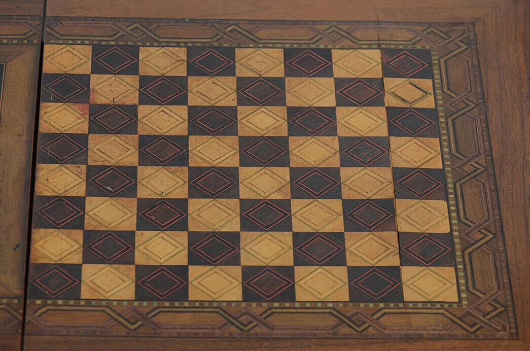 Antiker Gründerzeit Schachtisch Schachbrett Spieltisch Nähtisch von 1880 11