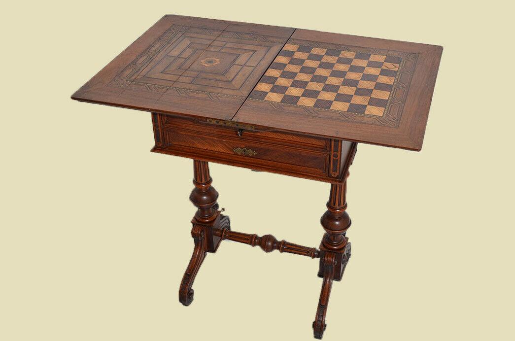 Antiker Gründerzeit Schachtisch Schachbrett Spieltisch Nähtisch von 1880 2