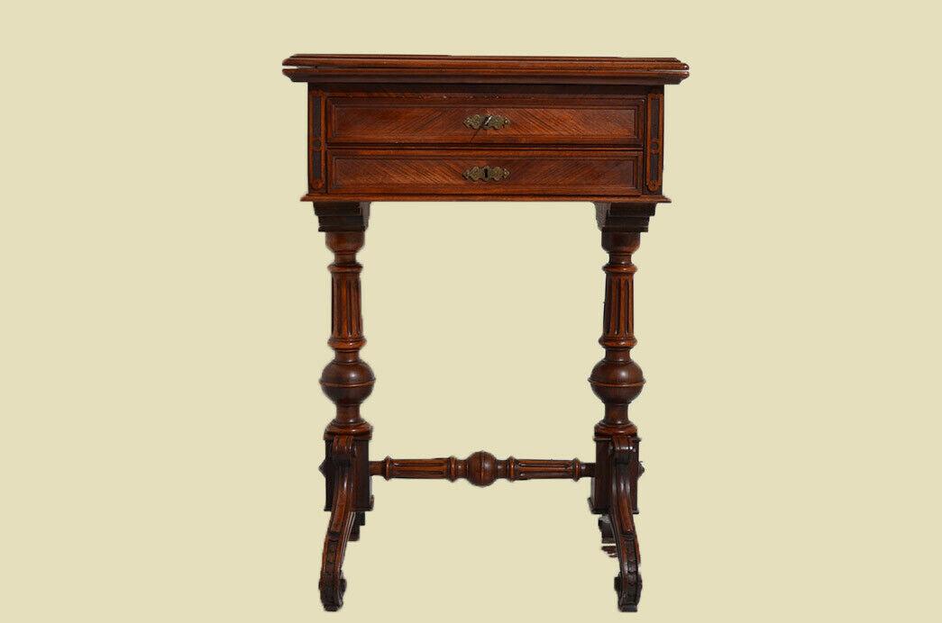 Außergewöhnlicher Antik Gründerzeit Spieltisch Nähtisch von 1880 3
