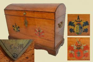 Schöne Antike Runddeckeltruhe Reisetruhe Truhe von 1846