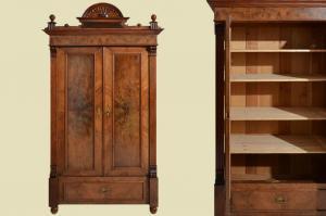 Antik Gründerzeit Kleiderschrank mit Krone & Regale von 1880