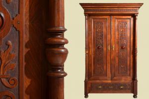 Großer Antiker Gründerzeit Nußbaum Säulen Kleiderschrank von 1880