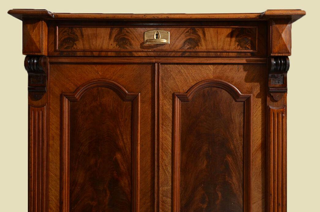 Antikes Gründerzeit Mahagoni Schrank Vertiko von 1880 11