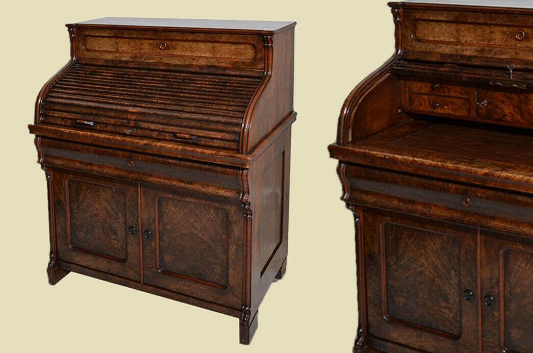 Antik Louis Philippe Mahagoni Schreibtisch Rolladensekretär Sekretär von 1860 0