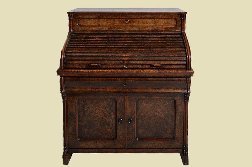 Antik Louis Philippe Mahagoni Schreibtisch Rolladensekretär Sekretär von 1860 3