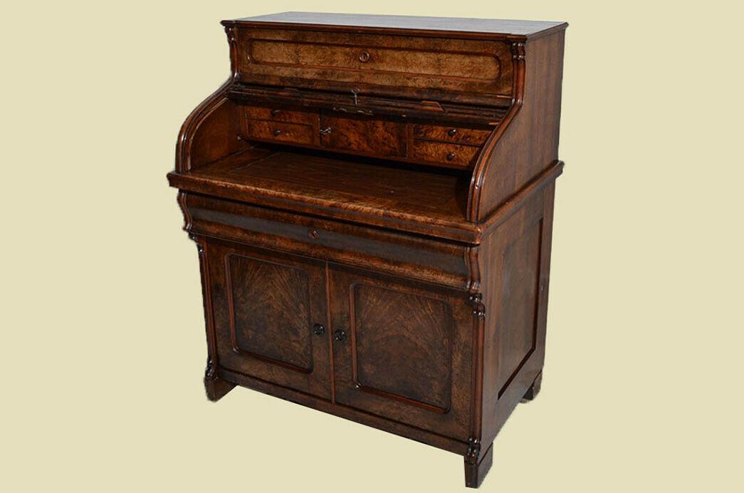 Antik Louis Philippe Mahagoni Schreibtisch Rolladensekretär Sekretär von 1860 4