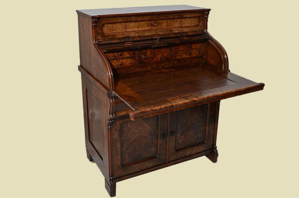 Antik Louis Philippe Mahagoni Schreibtisch Rolladensekretär Sekretär von 1860 5