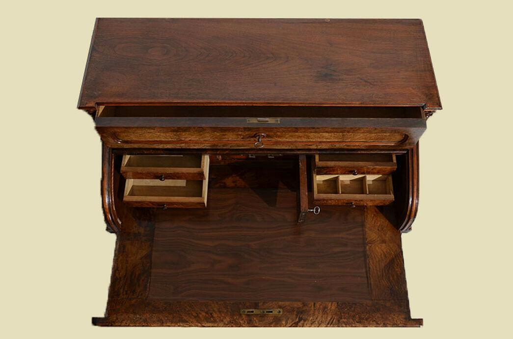 Antik Louis Philippe Mahagoni Schreibtisch Rolladensekretär Sekretär von 1860 8