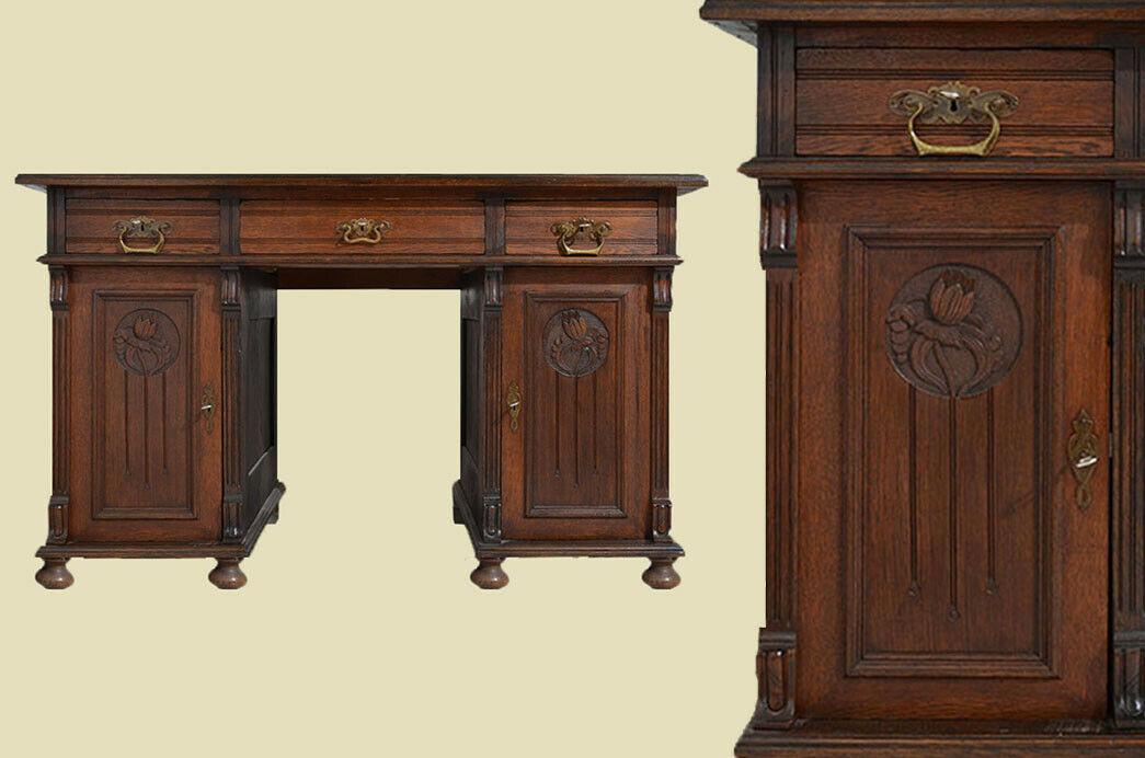 Schöner Antiker Jugendstil Nußbaum Sekretär Schreibtisch von 1880