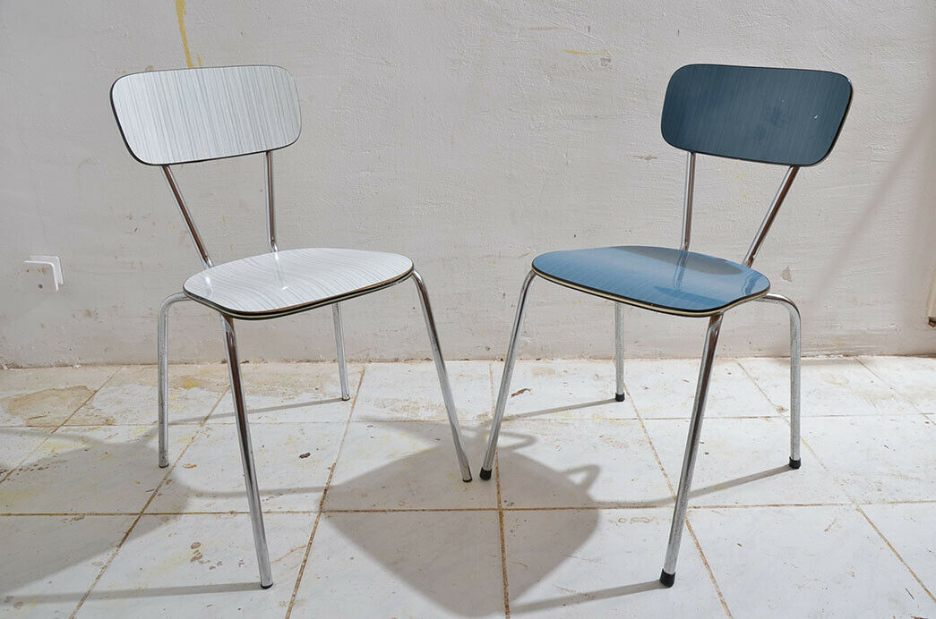 2x Antik 50er 60er Jahre Industrie Design Stapelstuhl Küchenstuhl 0