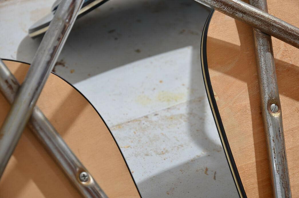 2x Antik 50er 60er Jahre Industrie Design Stapelstuhl Küchenstuhl 10