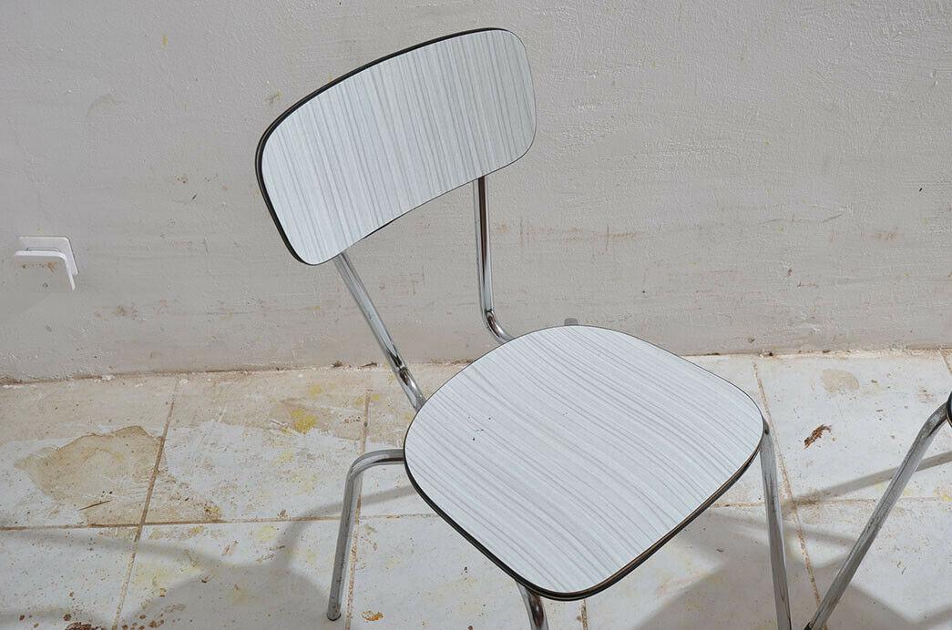 2x Antik 50er 60er Jahre Industrie Design Stapelstuhl Küchenstuhl 2
