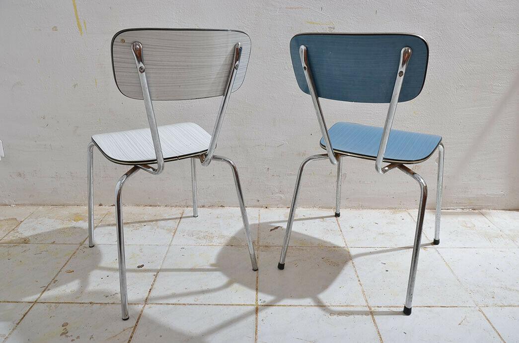2x Antik 50er 60er Jahre Industrie Design Stapelstuhl Küchenstuhl 6