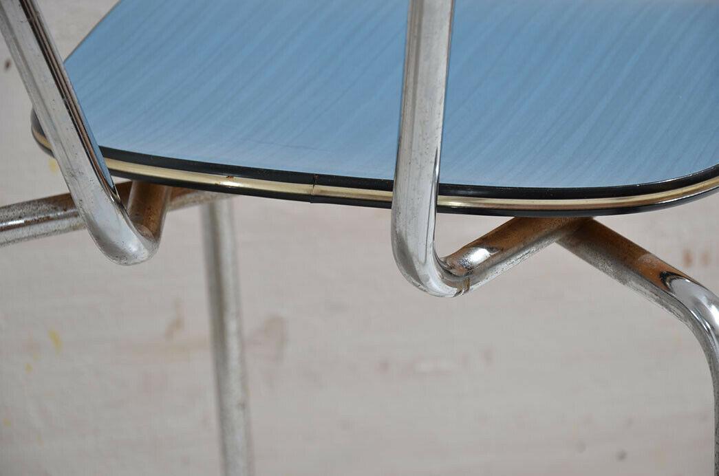 2x Antik 50er 60er Jahre Industrie Design Stapelstuhl Küchenstuhl 7