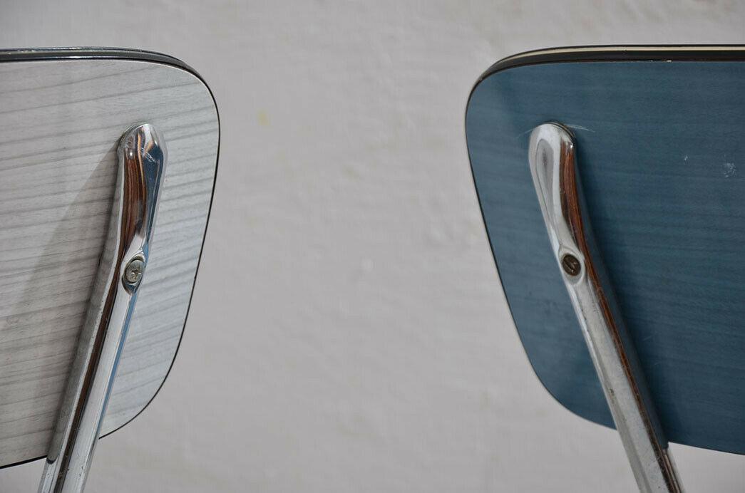 2x Antik 50er 60er Jahre Industrie Design Stapelstuhl Küchenstuhl 8