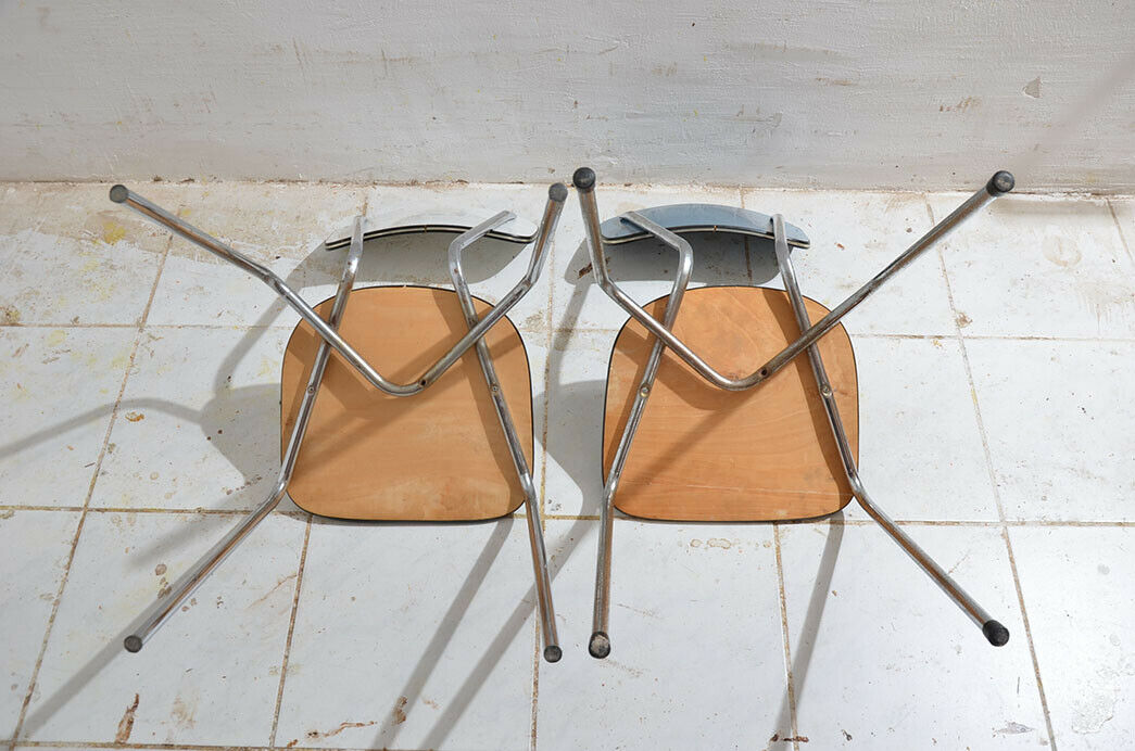 2x Antik 50er 60er Jahre Industrie Design Stapelstuhl Küchenstuhl 9