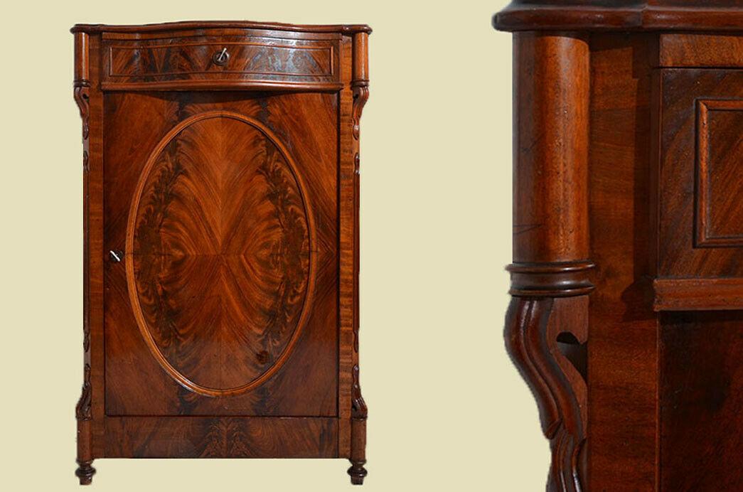 Antikes Louis Philippe Mahagoni Schrank Kommode Vertiko von 1870